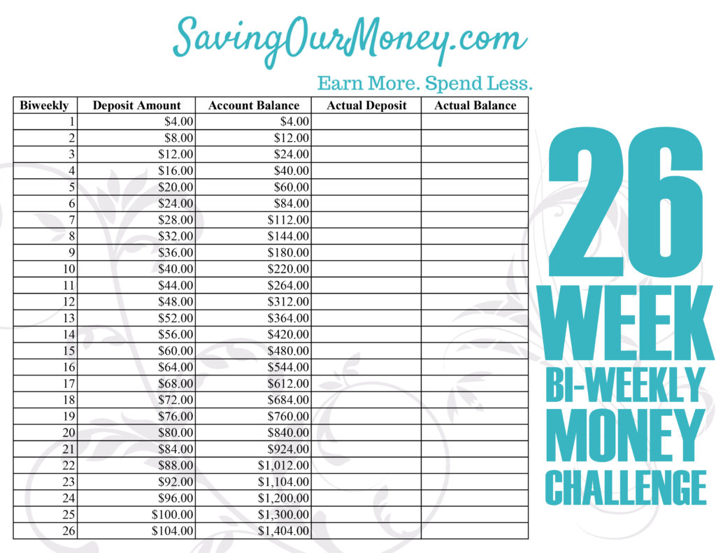 Stupendous image intended for 26 week money challenge printable